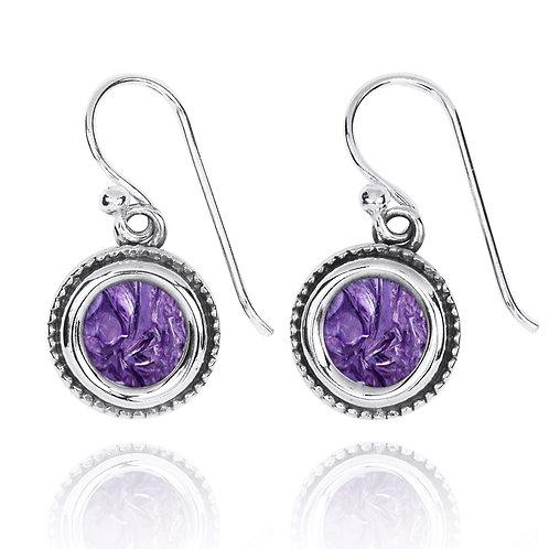 NEA2710-CHR - Classic RoundGemstone Earrings with Charoite stones