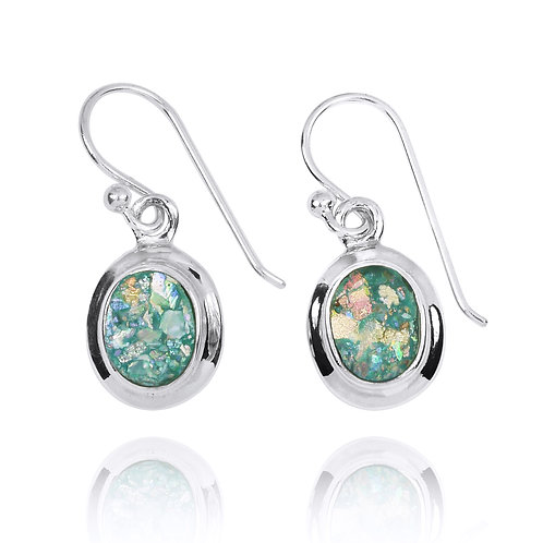 NEA3272-RG - Elegant Oval Roman Glass Earrings