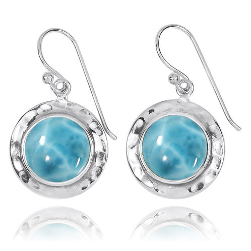 NEA3726-LAR - Round Classic Earrings with Larimar stones