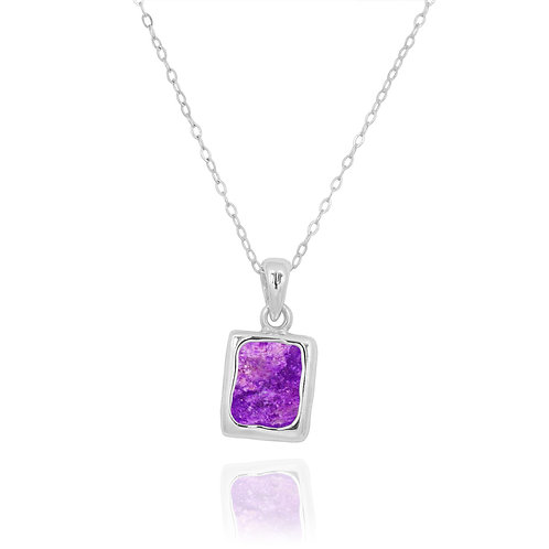 NP12332-SUG - Classic Silver Pendant with a Rectangle Sugilite  Piece