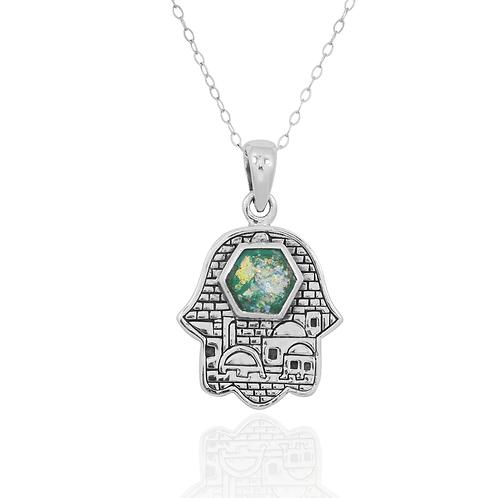NP11842-RG - Old City Jerusalem Hamsa Pendant Design , with Roman Glass