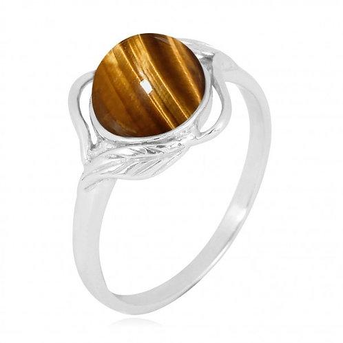 [NRB7481-BRTE] Sterling Silver Tiger Eye Ring with Leaf Patterns