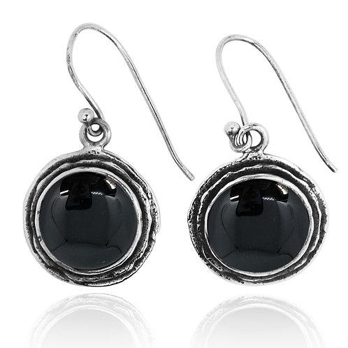 NEA1968-BKON- Classic Round Earrings with Black Onyx