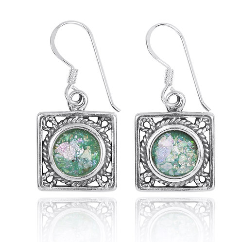 NEA3759-RG - Elegant Square Earring - Rope Design with Roman Glass Pieces