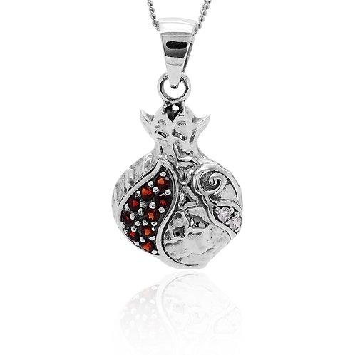 NP11298-GARCZ - Sterling Silver Pendant with Garnet Stone - Handmade Jewelry
