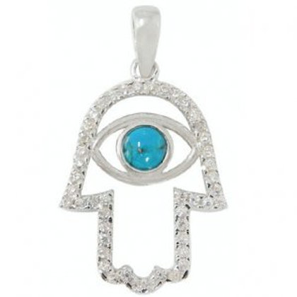NP8776 - CZ Hamsa Design with and 'Eye' made of S Blue Opal