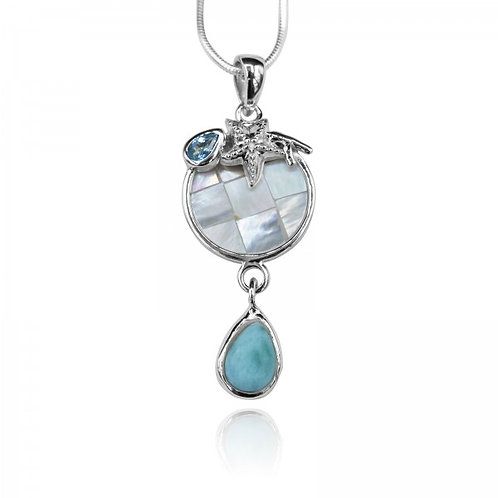 [KPG22-LAR] Pear shape larimar , blue topaz , star fish , round mother of pearl