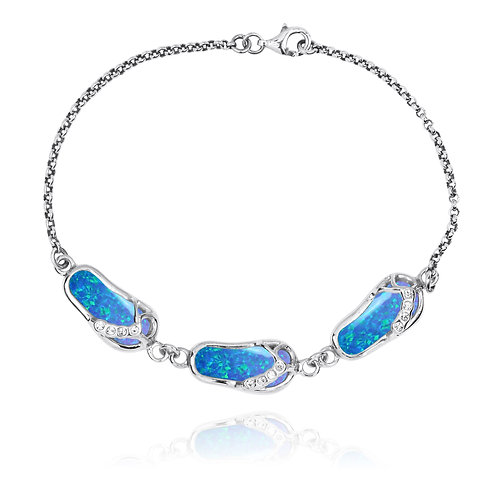 [NB1454-BLOP-WHCZ]  Silver Sandals Bracelet with Synthetic Blue Opal and CZ