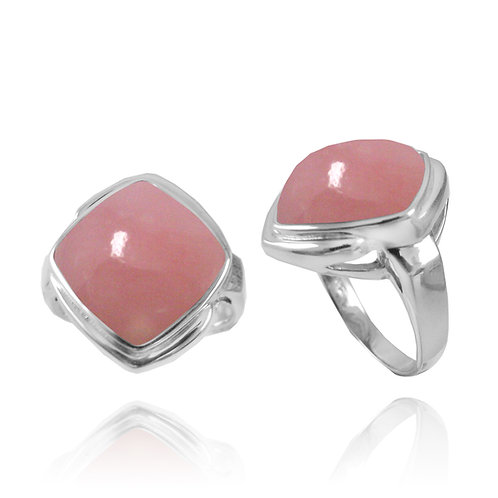 [NRB6809-PPKOP] Cushion Shape Peru Pink Opal  Gemstone Ring