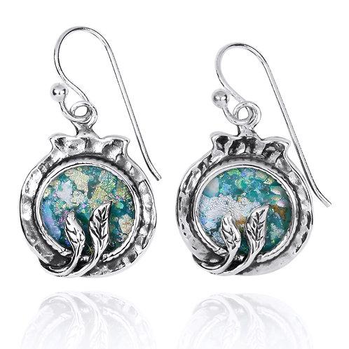 NEA3600-RG - Pomegranate Earrings - Roman glass