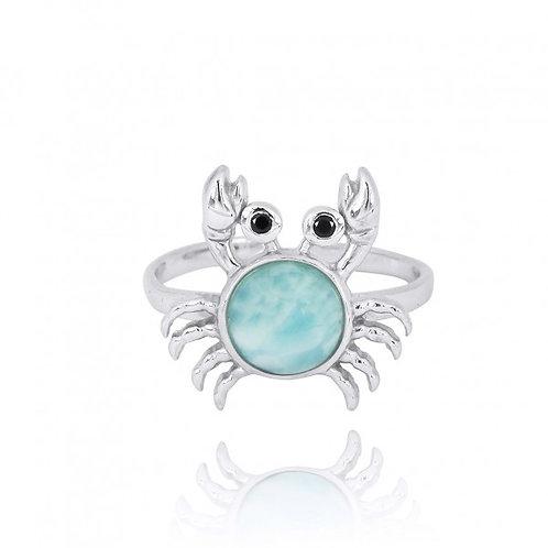[NRB7822-LAR-BKSP] Sterling Silver Crab Ring with Larimar and Black Spinel