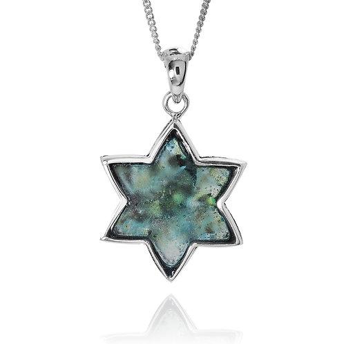 NP11823-RG - Sterling Silver Roman Glass Pendant - Gemstone Jewelry
