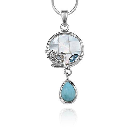 [KPG29-LAR] Round shape larimar , blue topaz , mother of pearl sea nautical pend