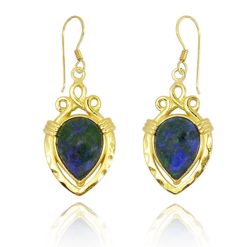 NEA3823-AZM-GP - Ancient Water vessels Design Earrings with Azurite Malachi