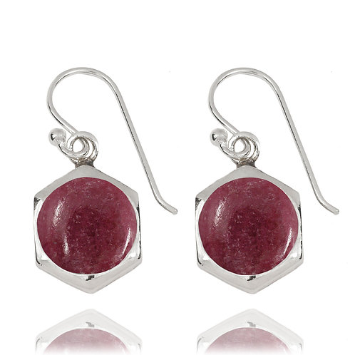 NEA3715-RDN - Classic Hexagon Earrings with Rhodonite
