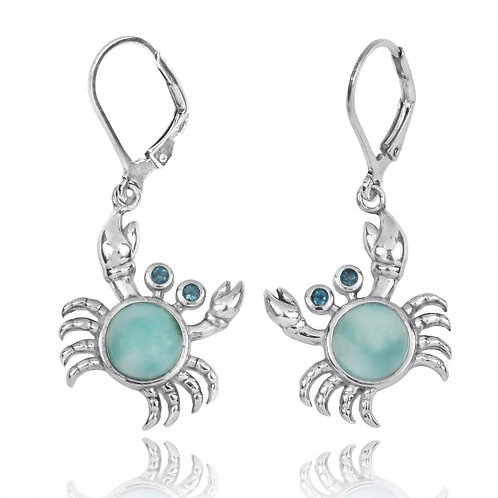 [NEA2794-LAR-LBLT] Sterling Silver Crab with Larimar and London Blue Topaz Lever