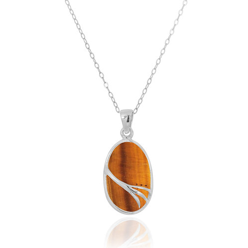 NP7090-BRTE - Oval Silver Pendant with Tiger Eye
