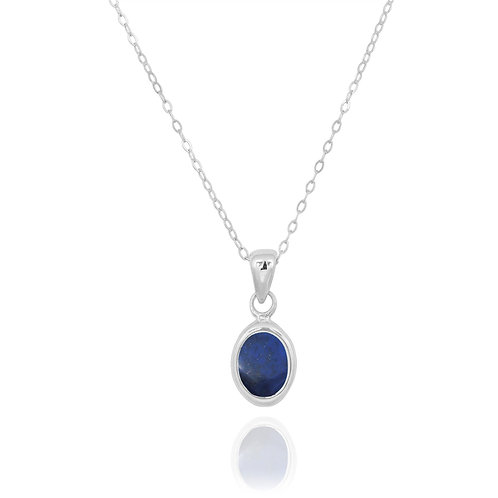 NP12337-LAP - Classic Oval Silver Pendant with a Lapis Lazuli  Piece