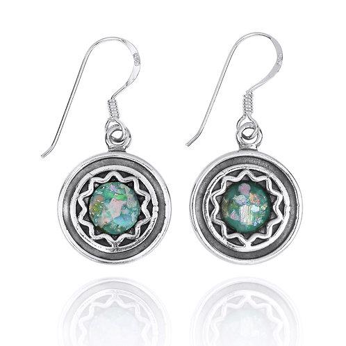 NEA3761-RG - Star Design Round Roman Glass Earrings
