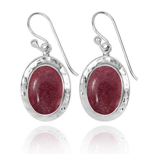 NEA3724-RDN -Oval Classic Earrings with Rhodonite