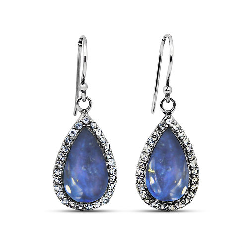 NEA3011-LAP - Classic and Unique Lapis Lazuli Earrings with White Topaz