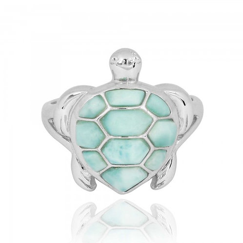 [NRB6917-LAR] Sterling Silver Turtle Ring with Larimar