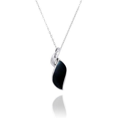 NP8157-BKON - Elegant Contemporary Modern Design Silver Pendant with Black Onyx