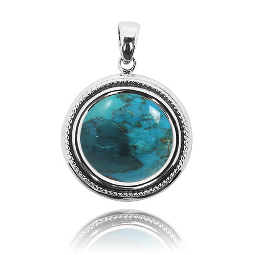NP10276-GRTQ - Elegant Round Flower Design Silver Pendant with Turquoise
