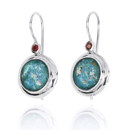 [NEA1824-RG] Round Shape Roman Glass Lever Back Earrings