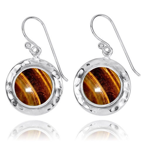 NEA3726-BRTE - Round Classic Earrings with Tiger Eye Stone