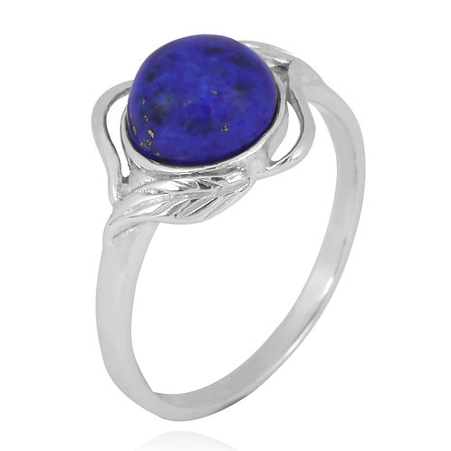 [NRB7481-LAP ] Sterling Silver Lapis Lazuli Ring with Leaf Patterns