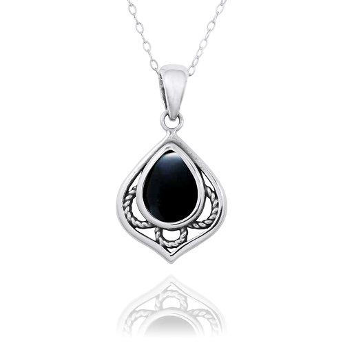 NP12218-BKON -  Elegant Silver Pendant with a Pear Shape Black Onyx Piece