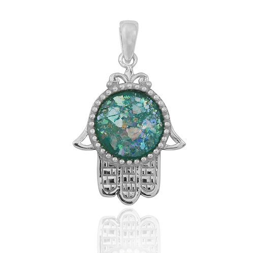 NP11797-RG - Sterling Silver Roman Glass Pendant - Gemstone Jewelry