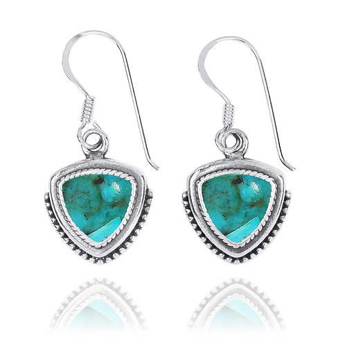 NEA3772-GRTQ - Classic Pointy Triangle Earring with Turquoise  Stones