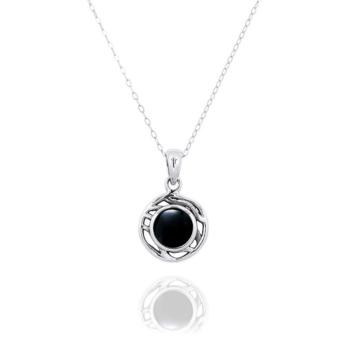 NP12368-BKON  -  Drop Shape  Silver Pendant with a  Black Onyx Piece