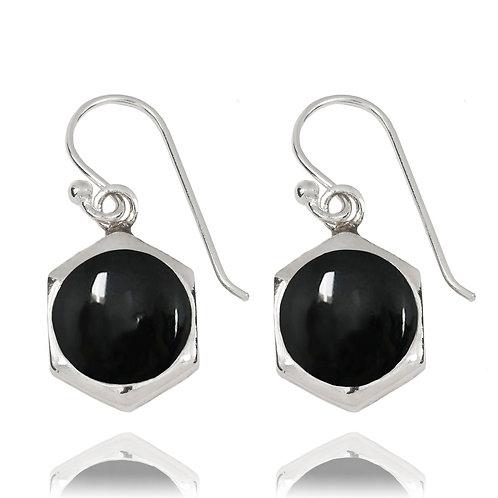 NEA3715-BKON -Classic Hexagon Earrings with Black Onyx