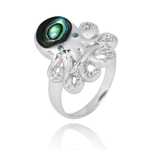 NRB7221-ABL - Sterling Silver Octopus with Abalone and London