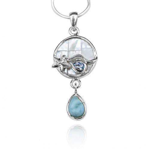 [KPG30-LAR] Round shape larimar , blue topaz , mother of pearl sea nautical pend