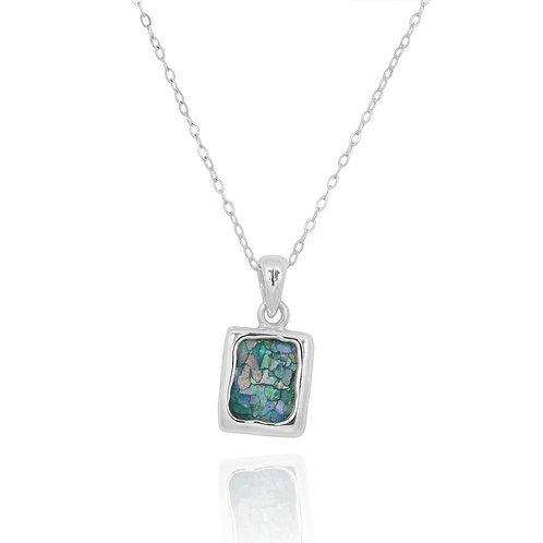 NP12332-RG - Classic Square Roman glass pendant