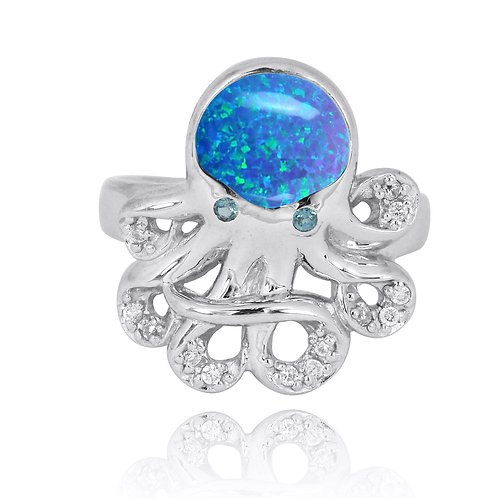NRB7221-BLOP - Sterling Silver Octopus with Blue Opal Ring