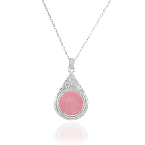 NP11604-PPKOP - Elegant Pear shape Silver Pendant with Round Peru Pink Opal Piec