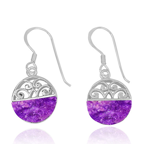 NEA2188-SUG -  Half Dome Shape Sugilite Ethnic Style Earrings