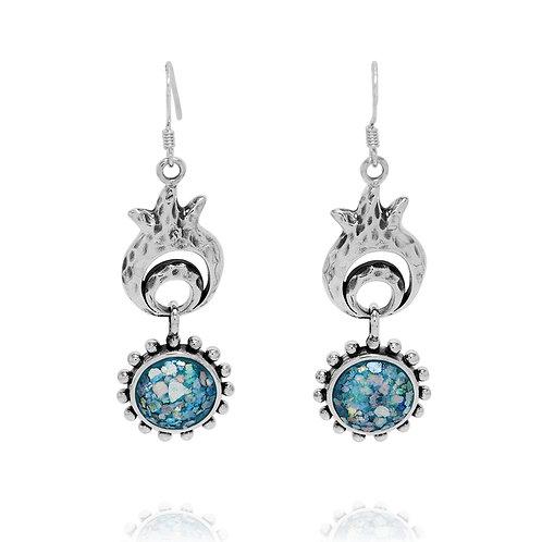 NEA3785-RG - Elegant Pomegranate Dangling Earring with Roman Glass