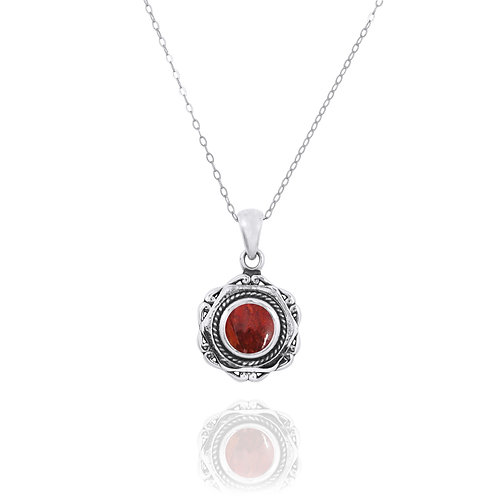 NP12359-SPC - Elegant Modern Silver Pendant with a Round Sponge Coral Piece