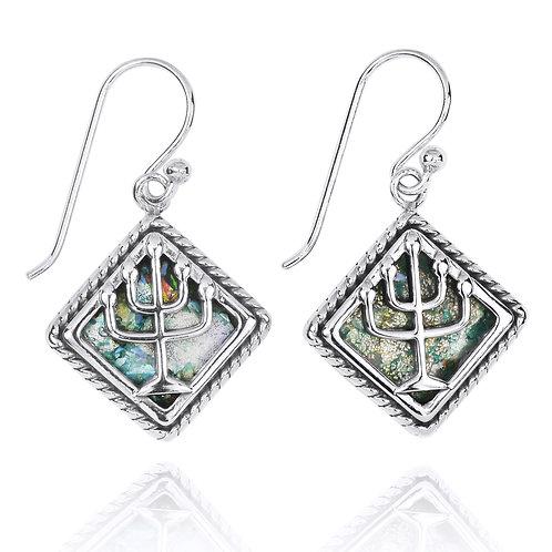 NEA3597-RG - Classic Menorah Roman Glass Earrings