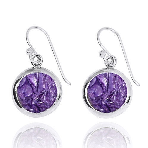 NEA3713-CHR - Classic Round Earrings with Charoite
