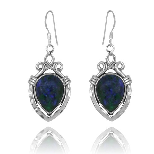 NEA3823-AZM - Ancient Water vessels Design Earrings with Azurite Malachite