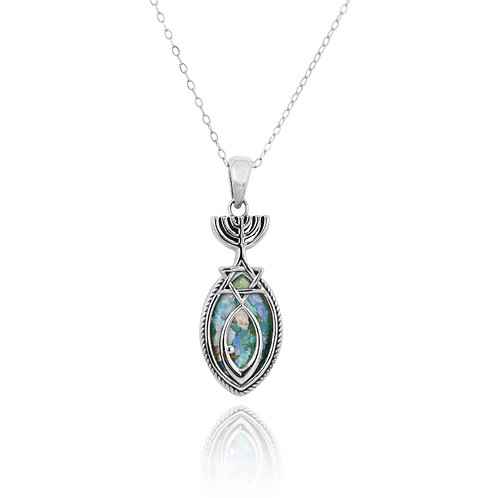 NP11885-RG - Elegant Messianic Pendant with Roman Glass