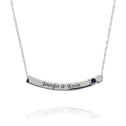 KNM1 - A BEAUTIFUL 3 SIDED NECKLACE WITH ENGRAVING AND BIRTHSTONE