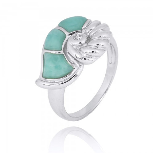 [NRB7776-LAR] Sterling Silver Seashell Ring with Larimar and White CZ